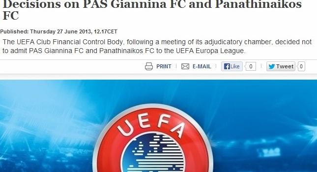 Επίσημο «όχι» σε Παναθηναϊκό και ΠΑΣ από UEFA