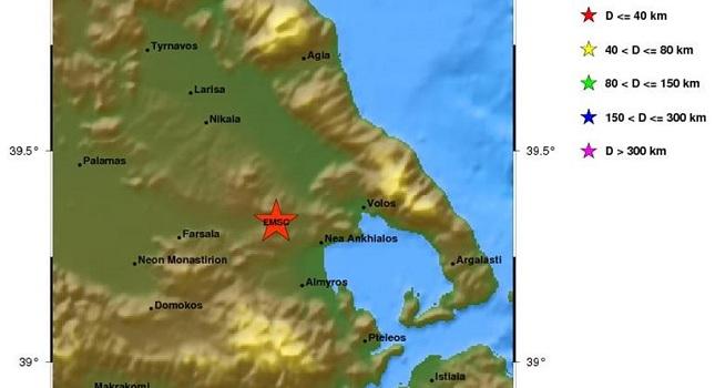 Σεισμός 4,1 Ρίχτερ δυτικά του Βόλου