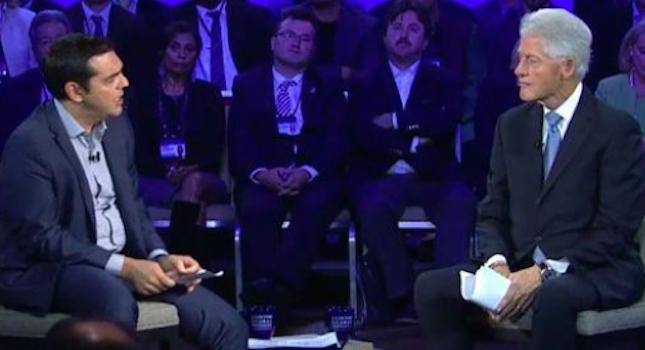 Ο Μπιλ Κλίντον ρωτάει τον Τσίπρα για επενδύσεις στην Ελλάδα και ο πρωθυπουργός της Ελλάδας χαζογελάει... Ξεφτίλα και απογοήτευση!