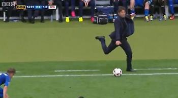 Η μπάλα που κλώτσησε ο Κόντε έκανε μεγάλη ζημιά! (video)