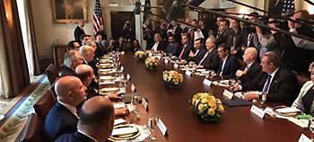 Γεύμα εργασίας στον Λευκό Οίκο: Τραμπ, Τίλερσον, Κούσνερ απέναντι σε Τσίπρα, Παππά, Καμμένο (pics)