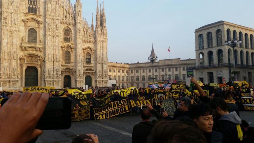 Η απόβαση ΑΕΚτζήδων στο Μιλάνο (video)