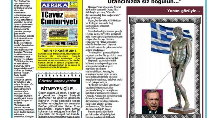 Κύπρος: Απειλές στον εκδότη της «Αφρικα» για το ελληνικό άγαλμα που ουρεί στο κεφάλι του Ερντογάν