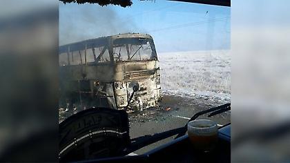 Τραγωδία στο Καζακστάν: 52 νεκροί από φωτιά σε λεωφορείο (video)