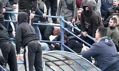 Χαμός στις εξέδρες του Εθνικός-Προοδευτική: Χτυπήθηκε ο γενικός αρχηγός των φιλοξενούμενων (pics)