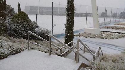 Ακυρώθηκε η προπόνηση της Ρεάλ λόγω χιονιά (video)