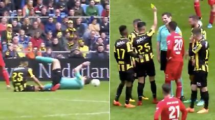 Παίκτης έβγαλε κίτρινη κάρτα σε διαιτητή στην Ολλανδία (video)
