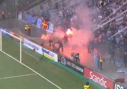 Καπνογόνα, ντου και διακοπή στον τελικό Κυπέλλου στη Σουηδία