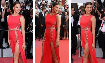 Τρέλανε κόσμο η Ιρίνα Σάικ με φόρεμα χωρίς εσώρουχο στις Κάννες (pics)