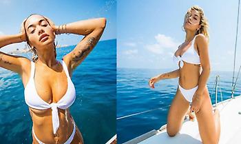 Η Ρίτα Όρα με σέξι λευκό μπικίνι (pics)