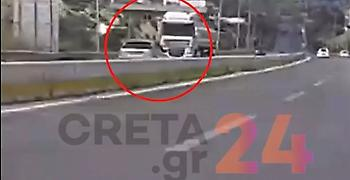 Oδηγός οδηγούσε ανάποδα στην εθνική οδό στην Κρήτη για 3,5 χιλιόμετρα (vid)