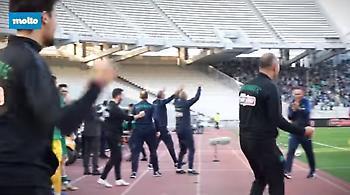 Έτσι πανηγύρισαν το γκολ του Χατζηθεοδωρίδη στον πάγκο του Παναθηναϊκού