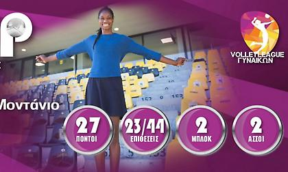Πολυτιμότερη της πρεμιέρας της Volley League γυναικών η Μοντάνιο