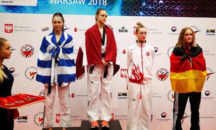 «Ασημένια» η Γιακουμοπούλου στην πρεμιέρα του Ευρωπαϊκού Πρωταθλήματος τάεκβοντο U21