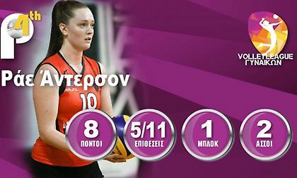 Πολυτιμότερη στη Volley League γυναικών η Ράε-Αντερσον
