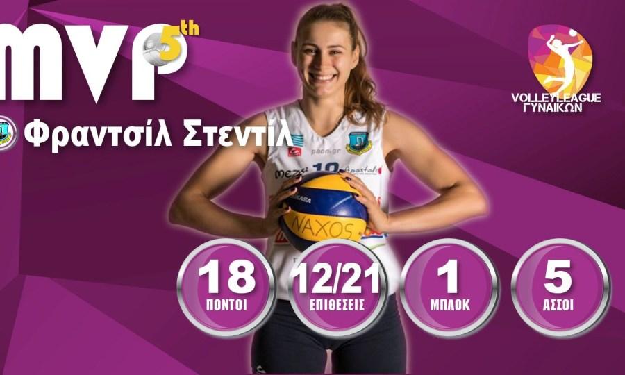 Πολυτιμότερη της πέμπτης αγωνιστικής της Volley League γυναικών η Στεντίλ