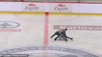 Ανατριχιαστικό ατύχημα σε πατινάζ - Η παρτενέρ πέφτει με το κεφάλι στον πάγο (vid)