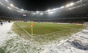 Το γήπεδο που θα παίξει ο Ολυμπιακός στρωμένο με χιόνι (pic)