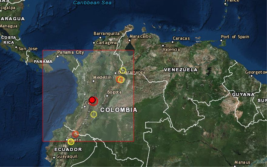 Ισχυρή δόνηση 6,1 Ρίχτερ στην Κολομβία