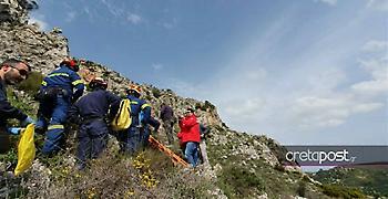 Μεγάλη επιχείρηση διάσωσης τραυματία από φαράγγι στην Κρήτη