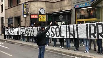 Φασιστικό πανό από τους οπαδούς της Λάτσιο για τον Μουσολίνι