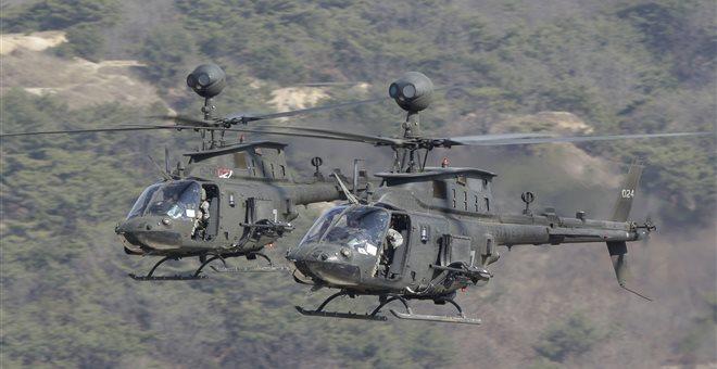 Στο Βόλο τα 70 ελικόπτερα αναγνώρισης OH-58D Kiowa Warrior και ένα Chinook