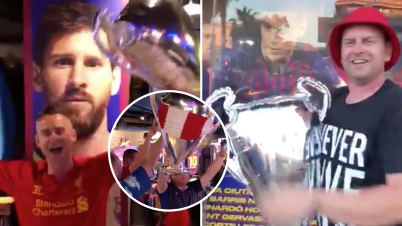 Οπαδοί της Λίβερπουλ πανηγύριζαν μέσα σε μπουτίκ της Μπαρτσελόνα (video)