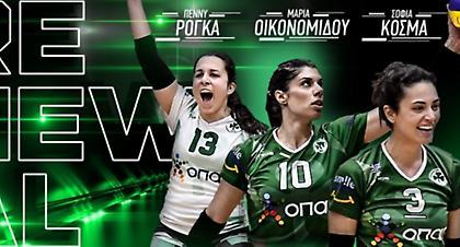 Στη Volley League με Οικονομίδου, Ρόγκα και Κοσμά ο Παναθηναϊκός!