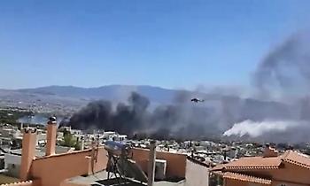 Φωτιά πάνω από το γήπεδο στο Χαϊδάρι, ενισχύονται οι δυνάμεις (video)