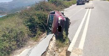 Ρέθυμνο: «Έφυγε» ο δρόμος κάτω από το αυτοκίνητο (pic)