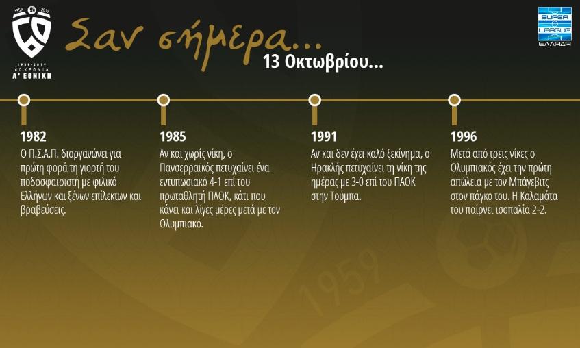 60 χρόνια Α' Εθνική: Σαν σήμερα 13 Οκτωβρίου