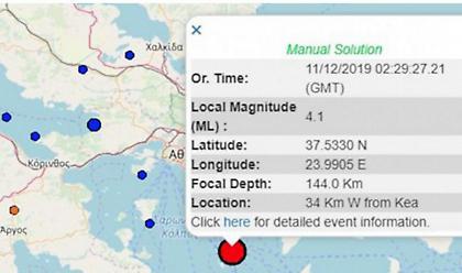 Σεισμός 4,1R νότια της Αττικής