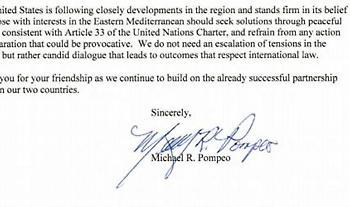 Τι αναφέρει η επιστολή Πομπέο στον Κυριάκο Μητσοτάκη για τα ελληνοτουρκικά