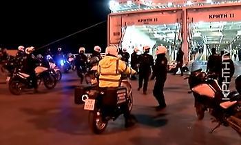 Επεισόδια ΜΑΤ με οπαδούς του Ολυμπιακού στο λιμάνι του Ηρακλείου και μέσα στο πλοίο (video)
