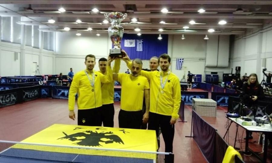 Αήττητη τον δεύτερο σερί τίτλο η ΑΕΚ στην Α1 ανδρών πινγκ πονγκ