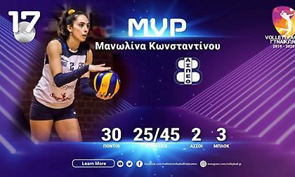 Πολυτιμότερη η Κωνσταντίνου στη Volley League γυναικών
