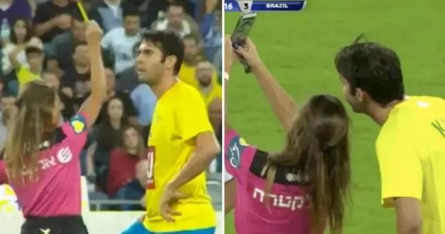 Γυναίκα διαιτητής έδωσε κίτρινη στον Κακά για να βγάλει selfie μαζί του (video)