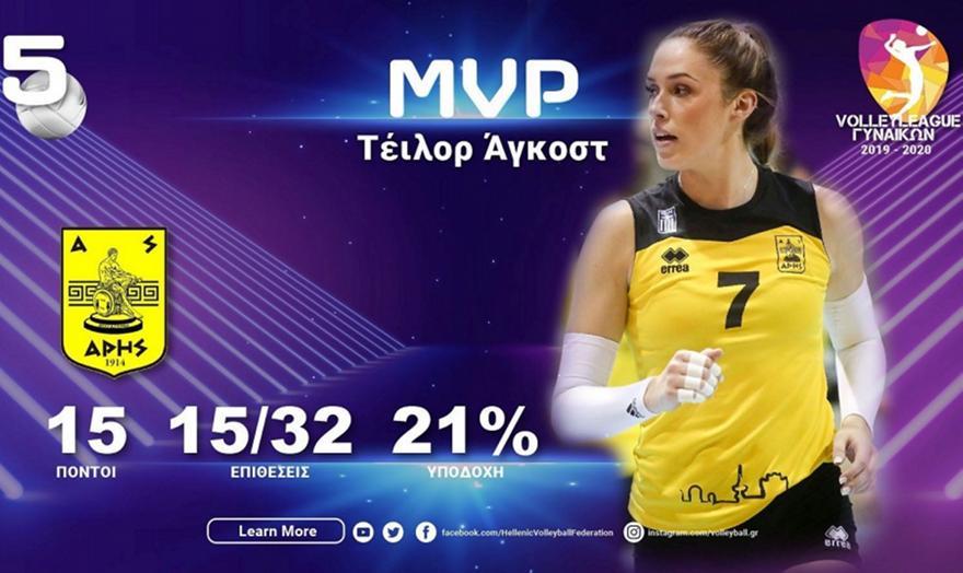 Η Τέιλορ Άγκοστ MVP της 5ης αγωνιστικής της Volleyleague Γυναικών