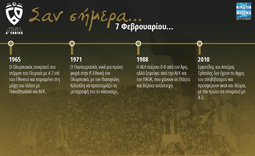 60 χρόνια Α' Εθνική: Σαν σήμερα, 7 Φεβρουαρίου