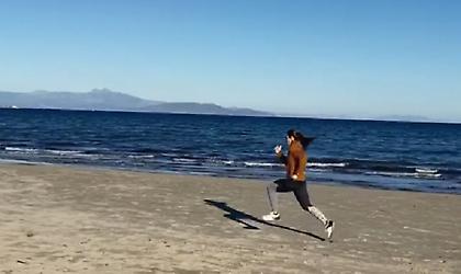 Προπονήθηκε στην παραλία η Στεφανίδη (video)