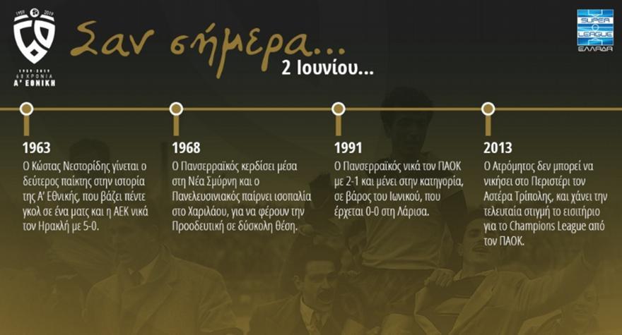 60 χρόνια Α' Εθνική: Σαν σήμερα, 2 Ιουνίου