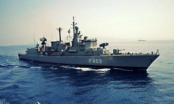 Παράταξη ελληνικών πολεμικών πλοίων κοντά στο Ορούτς Ρέις (χάρτης)
