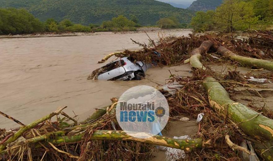 Ιανός-Καρδίτσα: Βρέθηκε το αυτοκίνητο που παρασύρθηκε στο Μουζάκι