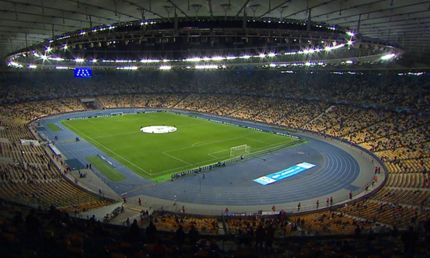 Champions League: Πλάνα από το μισογεμάτο Ολυμπιακό Στάδιο του Κιέβου