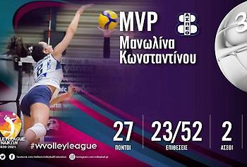 MVP της τρίτης αγωνιστικής η Κωνσταντίνου