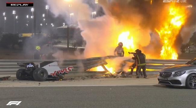 Σοκαριστικό ατύχημα για Γκροζάν, πήρε φωτιά το μονοθέσιό του! (video)
