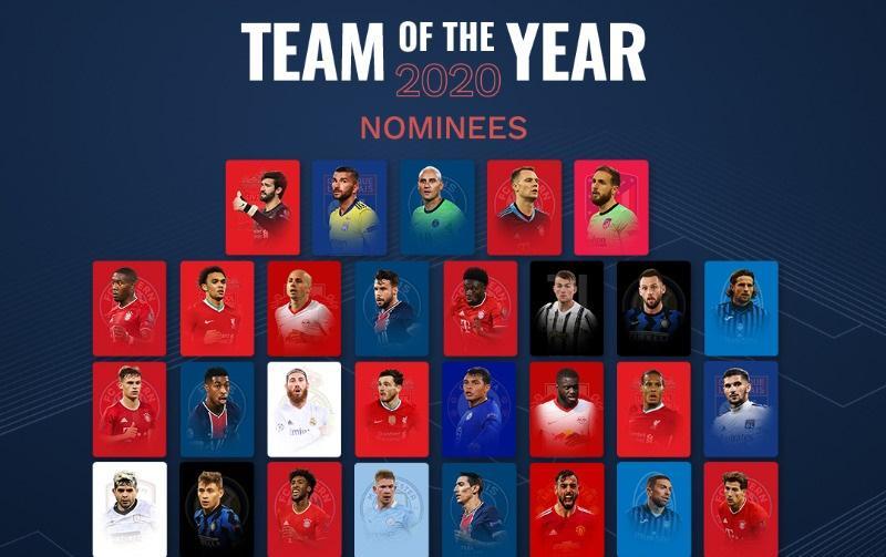 Οι 50 υποψήφιοι για την ομάδα της χρονιάς από την UEFA