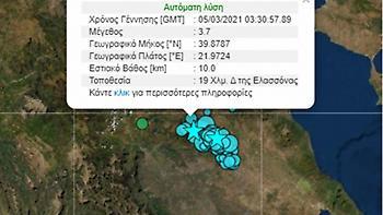 Μετασεισμός 3,7R τα ξημερώματα στην Ελασσόνα