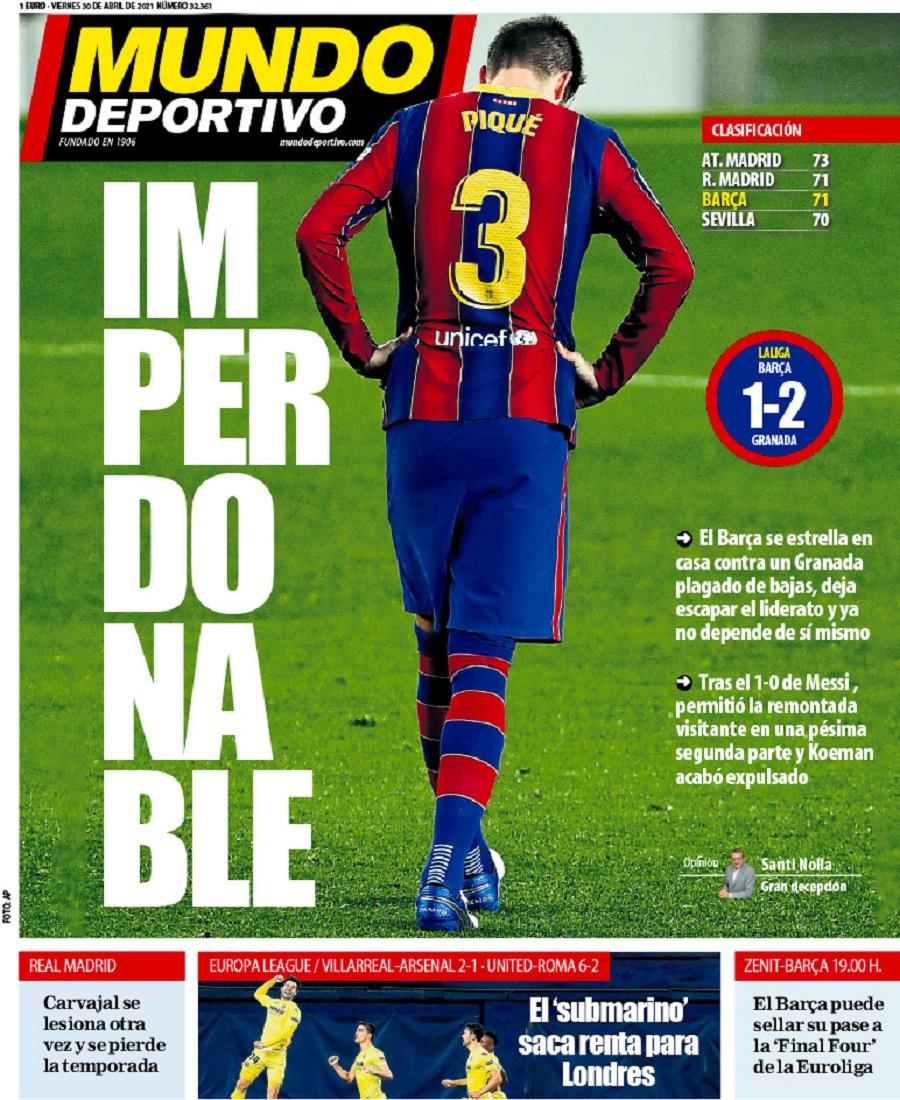 «Mundo Deportivo» για Μπάρτσα: «Ασυγχώρητοι»