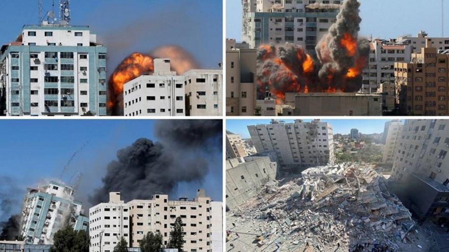 Γάζα: Κατέρρευσε κτίριο media από βομβαρδισμό